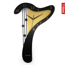 Wooden living room decoration classic simplicity large wall clock fashion creative arts mute harp cartoon clock  study bedroom
