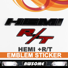 3D Black HEMI + R/T RT Red Sticker Decal Car Auto Fender Engine Emblem Badge For DODGE CHARGER CHALLENGER Tailgate Sticker