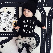 New 2016 baby boy clothes infant cotton letter printed long sleeve t-shirt + pants newborn 2pcs suit baby girl clothing sets(China)