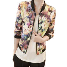 Casual Plus Size Spring Autumn New Women Stand Collar Long Sleeve Zipper Floral Printed Bomber Jacket Lady Girl Basic Coat Sep26