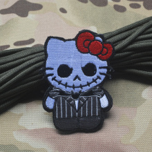 It's Not Hello Kitty Tactical Morale Patch 3D Embroidered Applique Hello Kitty Military Combat Shoulder Chest Armband Leg Badge