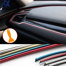 AX 5M Interior Sticker Decoration Strip Car Styling For Ford Focus Chevrolet Cruze Aveo Kia Rio Solaris Creta Lada Granta Xray(China)