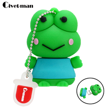 2017 Wholesales Cartoon Silicone Green Frog Model usb 2.0 memory flash stick pen drive / disk Toys Gift 8GB 16GB 32GB 64GB