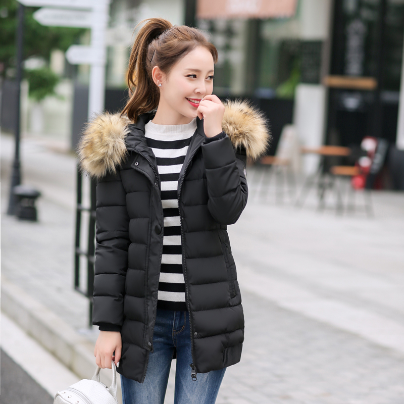 Hot 2017 Winter Fashion Brand Lmitate Raccoon Fur Collar Women Down Coat Hooded Outwear Cotton Padded Warm Parka Long Jacket 946Одежда и ак�е��уары<br><br><br>Aliexpress