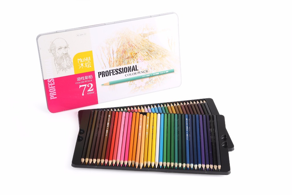 MuHui A876-72 Drawing Pencils  72 pcs Colored Pencil lapis de cor School Supplies iron box well packaged Painting Pencil<br><br>Aliexpress