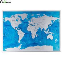 Scratch Map Travel 82.5 x 59.5cm Deluxe Traveler Scratch Off Personalized World Map Poster Black Blue Wall Sticker Home Decor(China)
