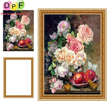 DPF Diamond painting Cross Stitch Peony and apple 5d Round full diamond Mosaic have Frame Diamond Embroidery home decor crafts