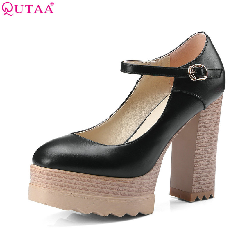 QUTAA 2018 Women Pumps Fashion Shoes Square High Heel Platform Buckle Pu Letaher All Match Casual Ladies Pumps Szie 34-42<br>