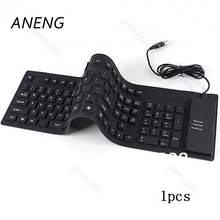 2017 NEW Waterproof 109-Keys USB Silicone Rubber Flexible Foldable Keyboard For PC
