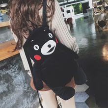 New Arrival Autumn Winter Wool Cloth With Soft Nap Cute Black Bear Backpack Fashion Casual Student Cartoon Shopping Backpack(China)