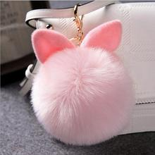 Peluche Plush Toys Bunny ear Pom Pom Keychain Fake Rabbit fur porte clef Stuffed Toys bag ornaments Kids Toy girls Xmas gift D15