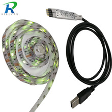 RiRi won SMD USB RGB led strip light 30Leds/m 5050 Led Tapes diode Ribbon no waterproof 3keys controller for tv decoration(China)