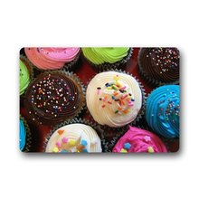 Cupcake Custom Outdoor Indoor Doormat Personalized Design Machine-Wahable Neoprene Rubber Doormat 23.6x15.7 Inch(China)