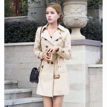 2017 Women Fashion Trench Slim coat Casual Turn down Collar  Spring Autumn outwear double breasted  Windbreaker Coat