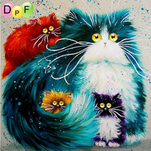 DPF Diy square painting diamond embroidery mosaic animal series cross stitch home decor needlework cat painting