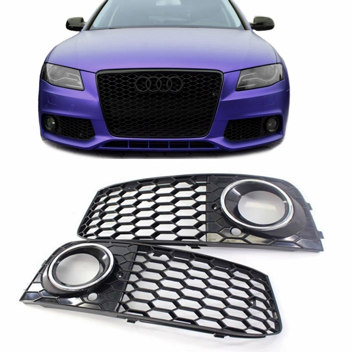 2x Honeycomb Mesh Fog Light Lamp Grill Grille RS4 Style For AUDI A4 B8 2009-2012