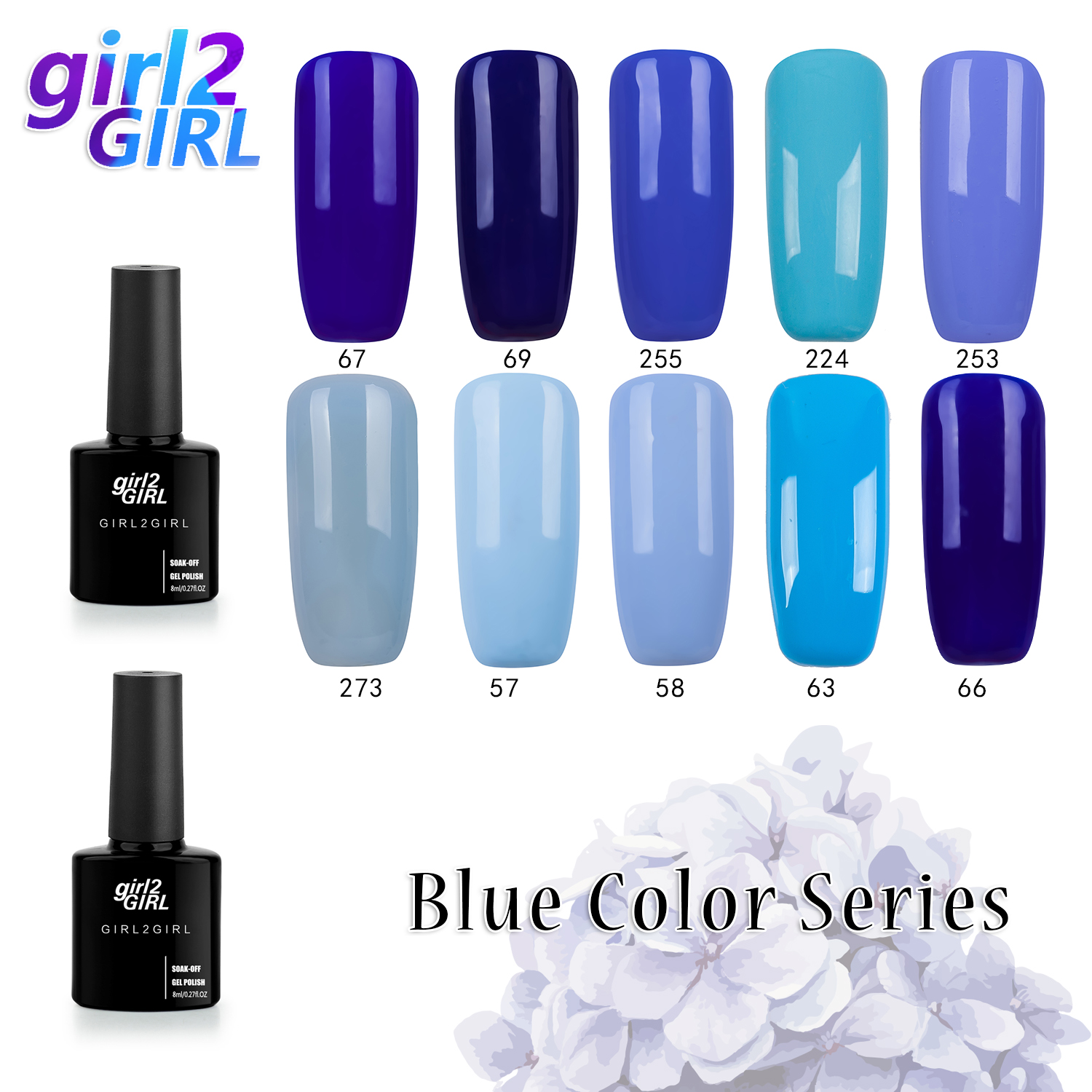 girl2GIRL 8 ML Soak Off UV Gel Nail Gel Polish Cosmetics Nail Art Manicure Nails Gel Polish Nail Varnish  BLUE set