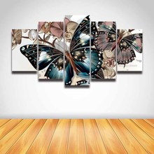 Printed Artistic abstract butterfly flower modular picture on canvas painting for wall art decor Canvas art Print artwork gift