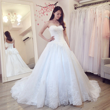 Buy Vestido De Novia Ball Gown Wedding Dresses Court Train Sleeveless Customized Cheap Brides Dress Long Lace Bridal Gown for $168.72 in AliExpress store