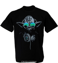 Jzecco Yoda DJ Hip Hop Jedi Master Headphones Green Glasses Man Star Wars T-shirt 100% Cotton Short Sleeve Summer Tee Shirt(China)