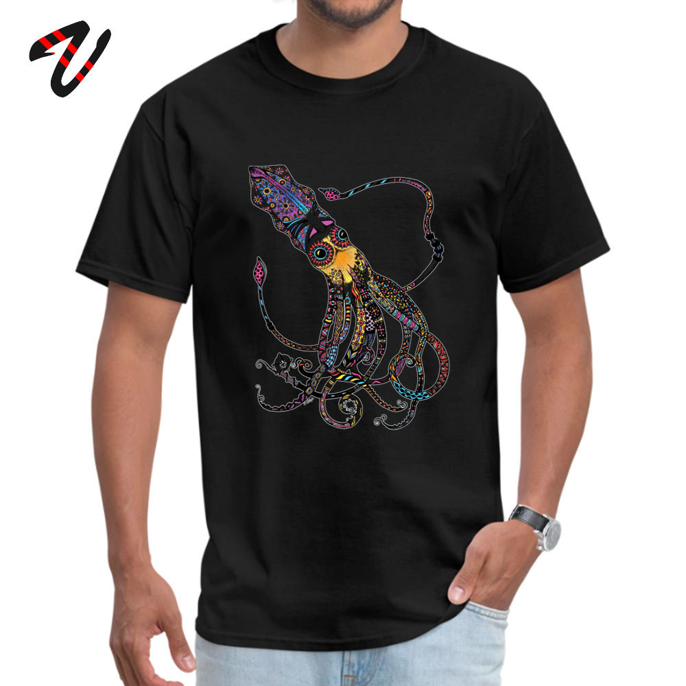 On Sale Men T-Shirt Crew Neck Short Sleeve 100% Cotton Electric Squid Tops T Shirt Design Tees Top Quality Electric Squid 297 black