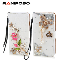 Luxury Rhinestone Crystal rose flower Wallet Bling Case Cover Diamond Cover Phone case for iphone 5 5s 6 6plus(China)