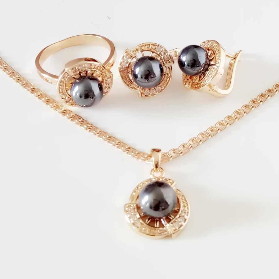 Новый Модные украшения комплект роскошный черный жемчуг 585 золотые  украшения Мода имитация-жемчужина Для женщин 5c4deec017e