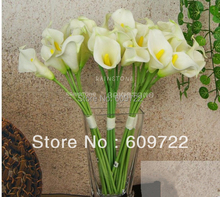 New PU 30pcs Real Touch Artificial Calla Lily Bouquet Flowers Wedding Church Decor White  FL1132