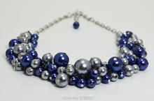Navy and Gray Cluster Chunky Necklace, Bridal Grey Bridesmaid Jewelry, Navy Blue Pearl Cluster, Wedding Pearl Necklace MN078