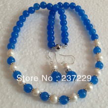 Hot sell Noble- Wholesale price FREE SHIPPING aWhite Akoya Cultured Pearl/Blue * Round Beads necklace earrings Set (A0423)