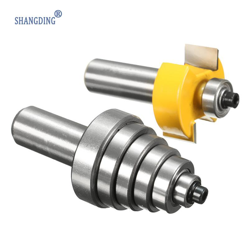 Best Price 2pcs Woodworking Router Bit with 6 Bearings Bits Set 1/2 Cutting Cemented Carbide Silver &amp;amp; Yellow<br>