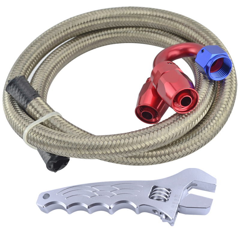 AN6 Straight 180 Degree Swivel Fittings+3.3FT AN6 Oil Fuel Hose Stainless Steel Braided Hose Line With Aluminum Silver Spanner(China (Mainland))
