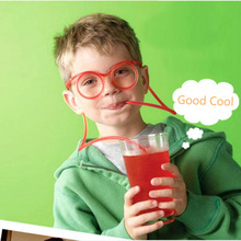 Hot Sale Creative Fun Soft Plastic Straw Funny Glasses Flexible Drinking Toys Party Joke Tube Tools Kids Baby Birthday Baby Toys(China)