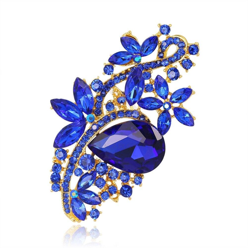Clear Crystal Trees Leaves Brooch Pins Wedding Bride Groom Fashion Accessory
