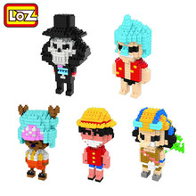Anime One Piece Figure Toy Building Block DIY Mini Model Diamond Block 5 style Luffy Franky Usopp Brook Tony action figure