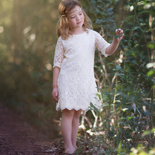 Flower Girl Dress 2017 Beach Rustic Ivory Lace  Boho A Line Knee Length with Half Sleeve first communion girls Dresses