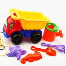 6Pcs Chromatic Kids Beach And Sand Game Tool Toys Truck Vehicles Baby Favourite Toy car