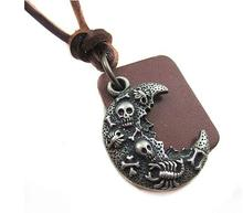 Rock Delicate Moon With Skull Scorpion dog tag Pendants Trend Men  Long Leather chain Necklaces pendant necklace Free Shipping