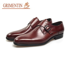 GRIMENTIN fashion buckle shoes men dress shoes brown genuine leather male business wedding shoes(China)