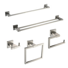 2017 Wholesale Nickel Brushed 5-piece bath hardware set robe hook toilet paper holder towel ring bathroom shelf