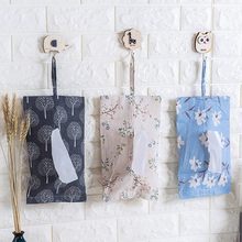 Vintage Cloth Craft Paper Towel Hanging Bag Pumping Paper Bag Linen Paper Towel Bag Hanging Storage Bag for Sundries(China)
