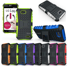 2014 New High Quality Original Heavy Duty Rugged Case Hybrid With Kickstand TPU Cover Case Skin for LG L90(China)