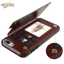 KISSCASE Retro PU Leather Case For iPhone X 6 6s 7 8 Plus Multi Card Holders Case Cover For iPhone 8 7 6 6s Plus X Phone Shells(China)