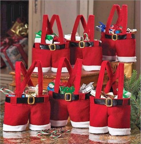 New-Buckram-Santa-Pants-Handbag-Candy-Christmas-Gift-Bag-Xmas-Decor-Ornament