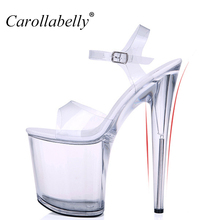 Extra High Heels crystal Shoes Women Pumps sexy transparent 12/13/15/17/20cm High Heel sandals Platform nightclub shoes Big Size(China)