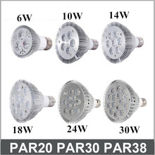 E27 E26 PAR20 PAR30 PAR38 led bulbs light 10W 14W 18W 24W 30W Dimmable 110V 220V warm/pure/cool white led spotights(China)
