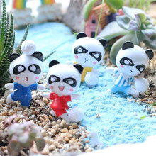 4pcs Miniature Panda DIY Craft Vase Terrarium Figurine Football Panda Dollhouse Fairy Garden Micro Landscape