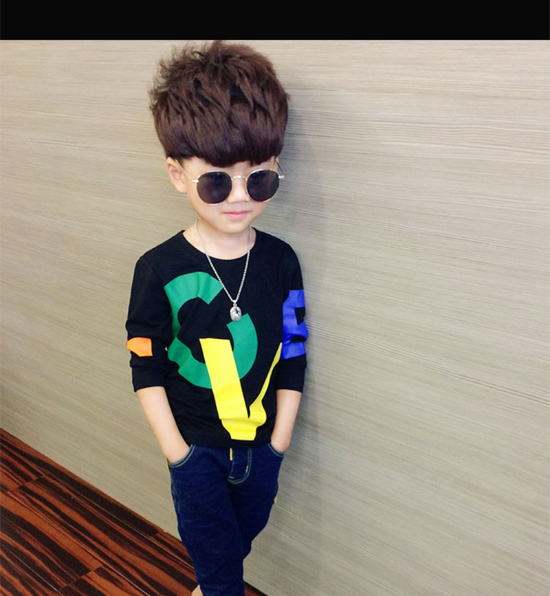 COOTELILI 80-130cm Black T-Shirt Children Tops Letter Kids Clothes Long Sleeve T Shirt Toddler Boys Spring Clothing Costume (8)