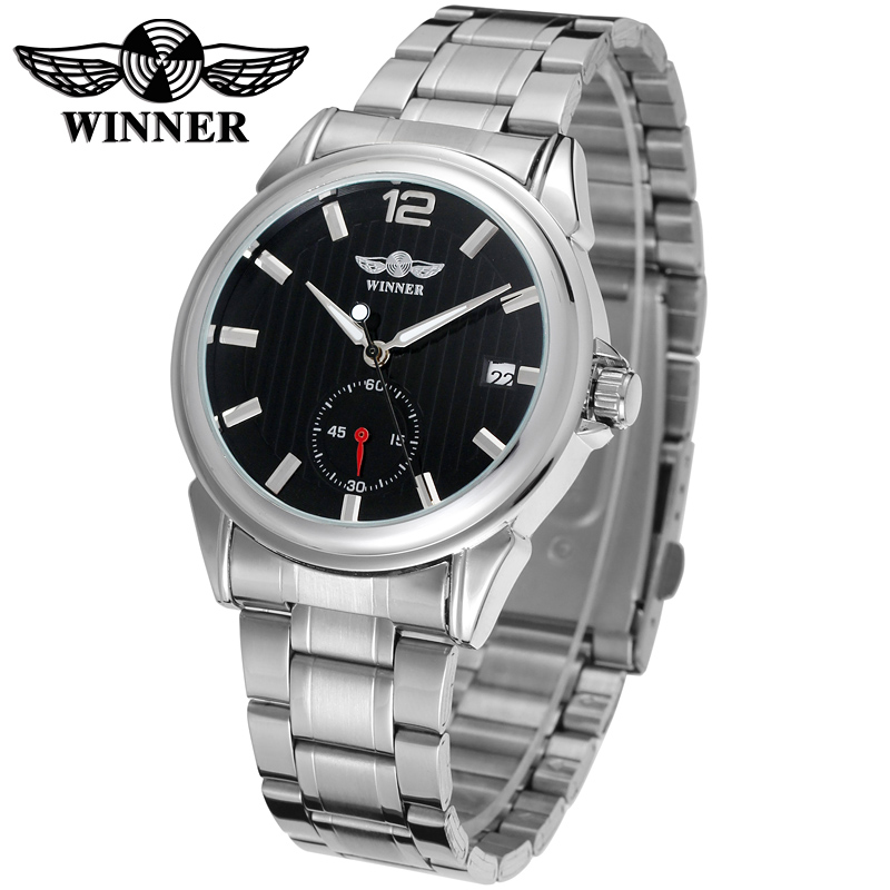 WINNER Men Luxury Brand Date Diplay Business Stainless Steel Watch Automatic Mechanical Wristwatch Gift Box Relogio Releges 2016<br><br>Aliexpress