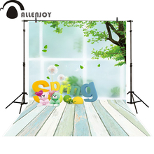 Allenjoy background bear spring wooden floo baby shower photocall backdrop photo studio photobooth fantasy photography